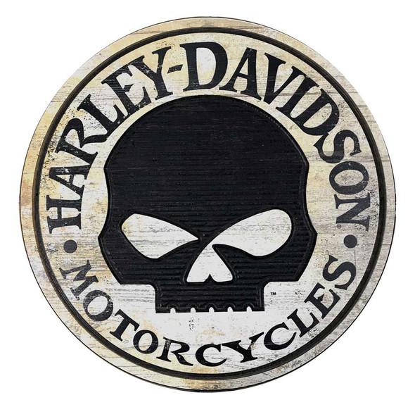 Harley-Davidson 22 inch. Round Routered Willie G Skull Hanging Sign CU94-WILLG-H - Wisconsin Harley-Davidson