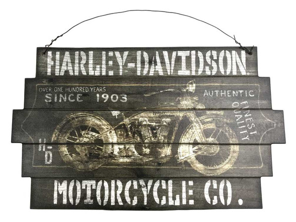 """Harley-Davidson 1903 100 Years Staggered Cut Wooden Sign w/ Wire, 14"""" x 23.5"""" in - Wisconsin Harley-Davidson"""