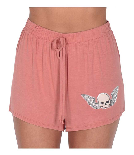 Harley-Davidson Women's Winged Willie G Skull Stretchy Lounge Shorts - Pink - Wisconsin Harley-Davidson