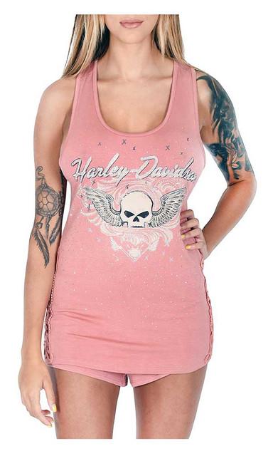 Harley-Davidson Women's Winged Willie G Skull Sleeveless Sleep Tank Top, Pink - Wisconsin Harley-Davidson