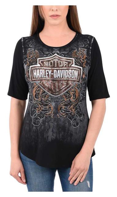 Harley-Davidson Womens Embellished Bar & Shield 3/4 Sleeve Scoop Neck Top, Black - Wisconsin Harley-Davidson