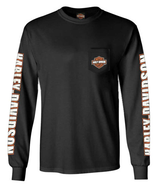 Harley-Davidson Men's Bar & Shield Chest Pocket Long Sleeve Crew-Neck Tee, Black - Wisconsin Harley-Davidson