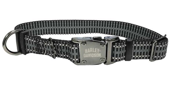 Harley-Davidson 1in. Adjustable Rugged Reflective Dog Collar - SM/MD 18in. Black - Wisconsin Harley-Davidson