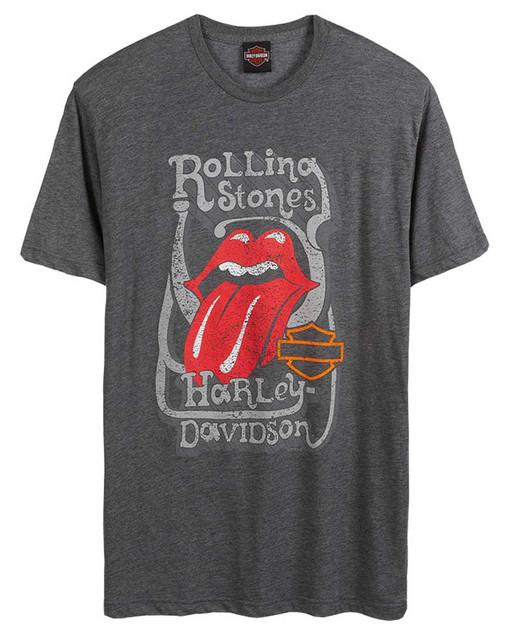 Harley-Davidson Men's Rolling Stones Groovy Short Sleeve Crew-Neck Tee, Charcoal - Wisconsin Harley-Davidson