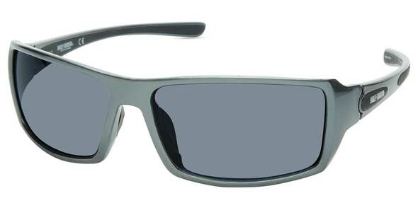 Harley-Davidson Men's Shallow Sport Sunglasses, Shiny Gray Frame & Smoke Lenses - Wisconsin Harley-Davidson