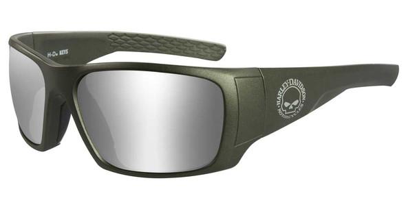 Harley-Davidson Men's Keys Sunglasses, Silver Flash Lenses & Matte Green Frames - Wisconsin Harley-Davidson