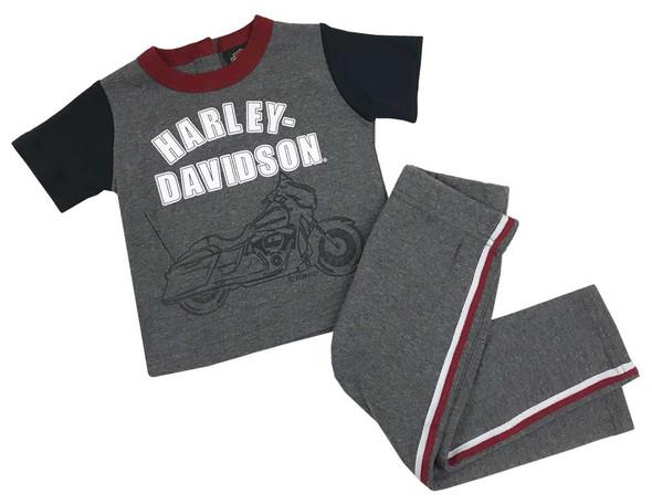 Harley-Davidson Baby Boys' 2-Piece Short Sleeve Tee w/ Knit Fleece Pants 2051015 - Wisconsin Harley-Davidson