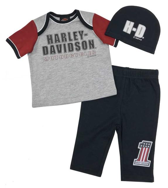 Harley-Davidson Baby Boys' H-D Newborn 3-piece Gift Set w/ Gift Bag 2551009 - Wisconsin Harley-Davidson