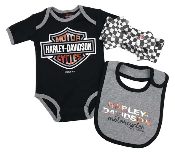 Harley-Davidson Baby Girls' 3-Piece Metallic Newborn Creeper Set w/ Hat & Bib - Wisconsin Harley-Davidson