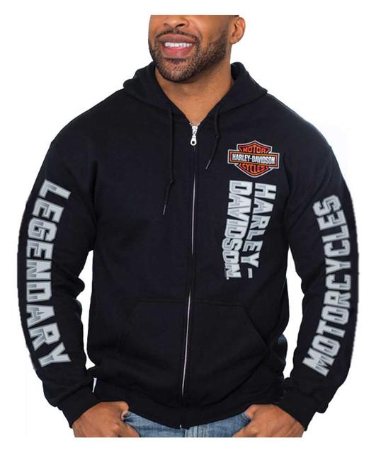 Harley-Davidson Men's Bar & Shield Chrome Zip-Up Poly-Blend Hoodie - Black - Wisconsin Harley-Davidson