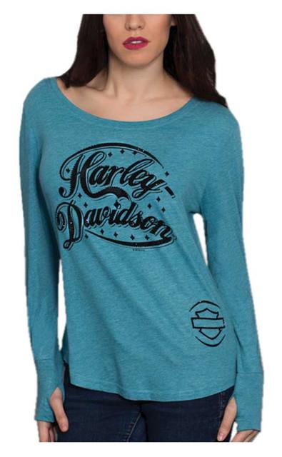 Harley-Davidson Women's Embellished H-D Script Long Sleeve Boatneck Shirt, Blue - Wisconsin Harley-Davidson