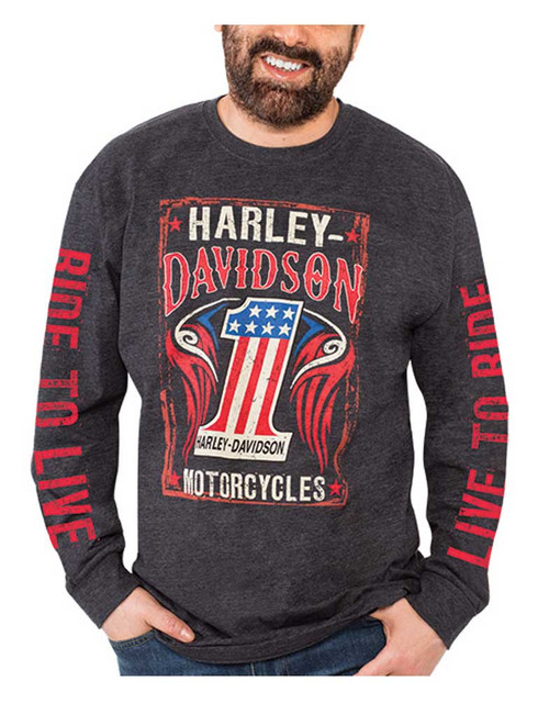 Harley-Davidson Men's #1 RWB Long Sleeve Crew Neck Poly-Blend T-Shirt, Black - Wisconsin Harley-Davidson
