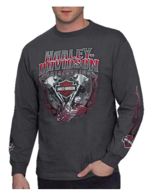 Harley-Davidson Men's Blazer V-Twin Long Sleeve Crew-Neck T-Shirt, Charcoal - Wisconsin Harley-Davidson
