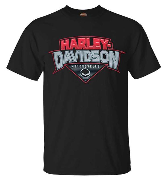 Harley-Davidson Men's Bold H-D Crew-Neck Short Sleeve Cotton T-Shirt, Black - Wisconsin Harley-Davidson