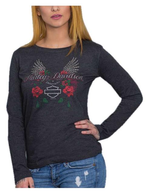 Harley-Davidson Women's Roses & Bling Long Sleeve Poly-Blend Tee, Vintage Black - Wisconsin Harley-Davidson