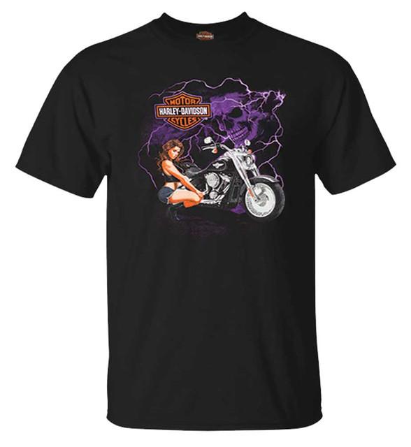 Harley-Davidson Men's Skull & Bike Pin-Up Short Sleeve Crew-Neck T-Shirt, Black - Wisconsin Harley-Davidson