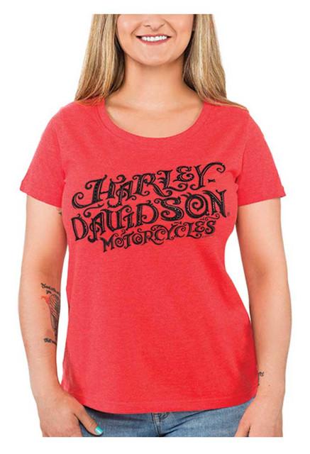 Harley-Davidson Womens Rhinestone Swirly Script Scoop Neck Short Sleeve Tee, Red - Wisconsin Harley-Davidson
