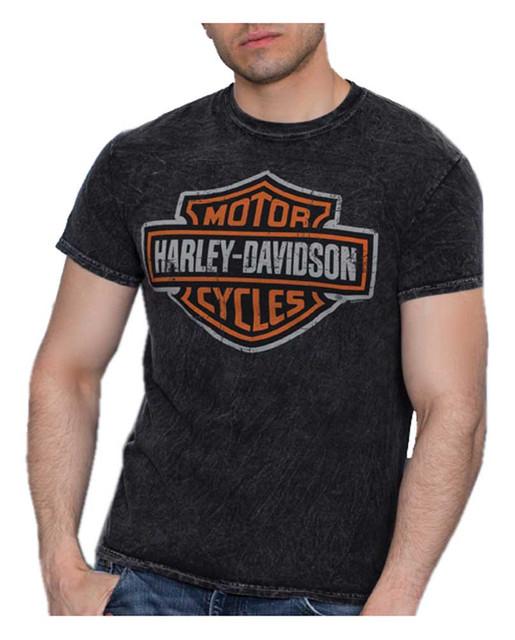 Harley-Davidson Men's Bar & Shield Logo Short Sleeve Cotton T-Shirt, Wash Black - Wisconsin Harley-Davidson