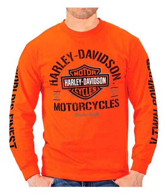 Harley-Davidson Men's Bar & Shield H-D Long Sleeve Crew Neck T-Shirt, Orange - Wisconsin Harley-Davidson