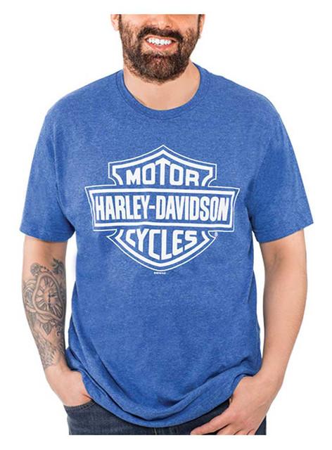 Harley-Davidson Men's Bar & Shield Logo Poly-Blend Short Sleeve T-Shirt, Royal - Wisconsin Harley-Davidson