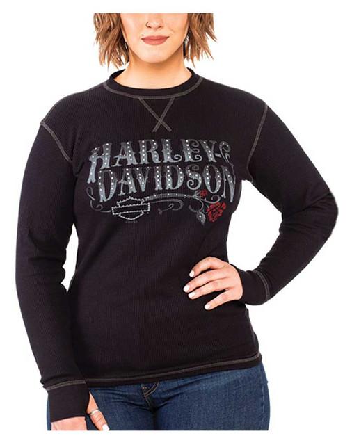 Harley-Davidson Women's Bling Script Long Sleeve Thermal Tee w/Thumbholes, Black - Wisconsin Harley-Davidson
