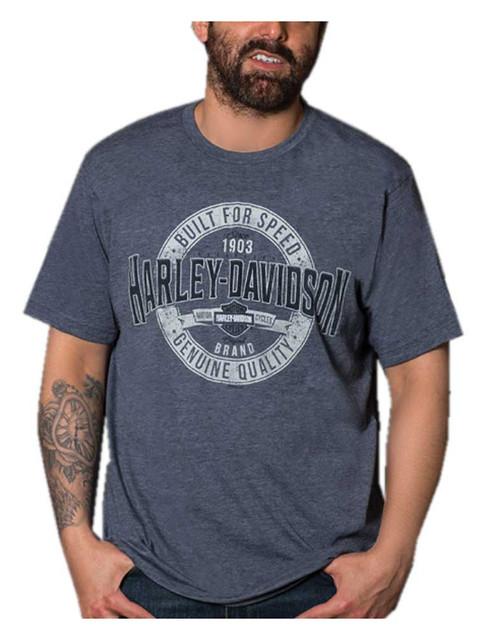 Harley-Davidson Men's Distressed H-D Short Sleeve Poly-Blend T-Shirt, Navy Blue - Wisconsin Harley-Davidson