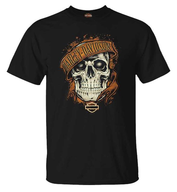 Harley-Davidson Men's Rusted Skull Short Sleeve Crew-Neck Cotton T-Shirt, Black - Wisconsin Harley-Davidson