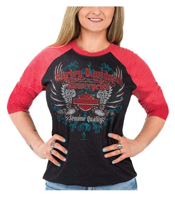 Harley-Davidson Women's Winged Bling B&S 3/4 Raglan Sleeve Shirt, Black & Red - Wisconsin Harley-Davidson
