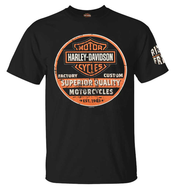 Harley-Davidson Men's Superior B&S Logo Crew-Neck Short Sleeve T-Shirt, Black - Wisconsin Harley-Davidson