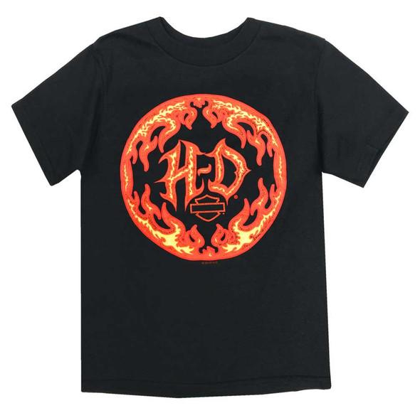 Harley-Davidson Boys Hot H-D Short Sleeve Cotton T-Shirt, Toddler & Youth, Black - Wisconsin Harley-Davidson