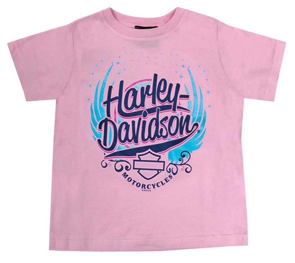 Harley-Davidson Little Girl's Winged H-D Short Sleeve Toddler T-Shirt - Pink - Wisconsin Harley-Davidson