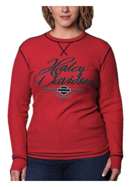 Harley-Davidson Women's Rhythm Long Sleeve Thermal Tee w/ Thumbholes - Red - Wisconsin Harley-Davidson