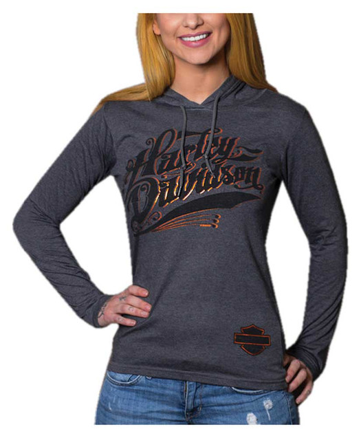 Harley-Davidson Women's Metallic Foil H-D Long Sleeve Hooded Shirt, Heather Gray - Wisconsin Harley-Davidson