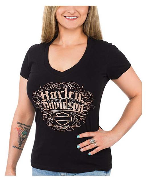 Harley-Davidson Women's Bling Script Short Sleeve V-Neck Cotton T-Shirt, Black - Wisconsin Harley-Davidson