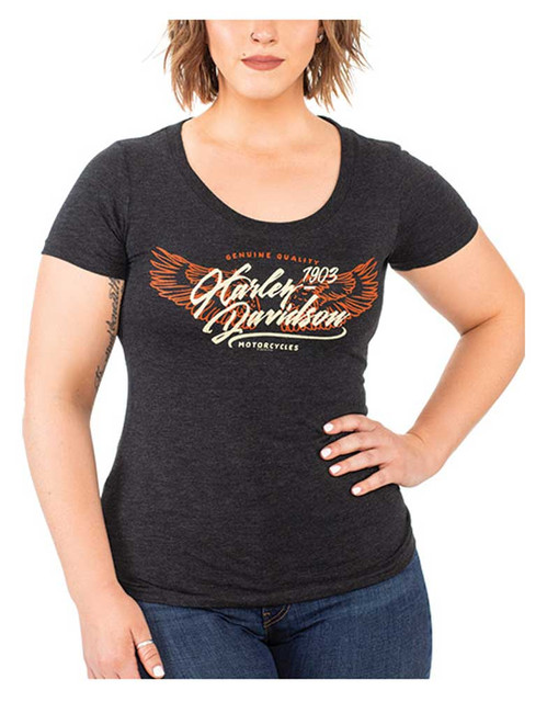 Harley-Davidson Women's Winged H-D Scoop Neck Short Sleeve Tri-Blend Tee, Black - Wisconsin Harley-Davidson