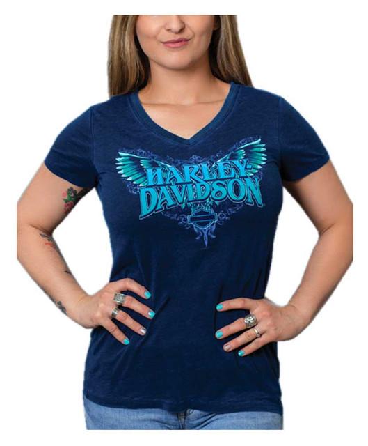Harley-Davidson Women's Winged H-D V-Neck Short Sleeve Poly-Blend Tee, Blue - Wisconsin Harley-Davidson