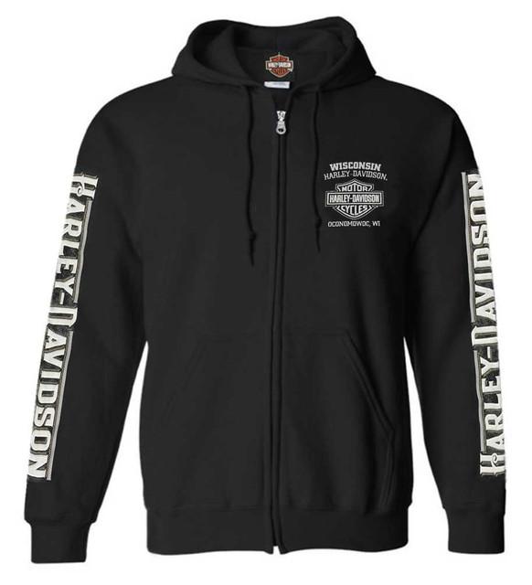Harley-Davidson Men's Living Legend Zip-Up Poly-Blend Hoodie, Solid Black - Wisconsin Harley-Davidson