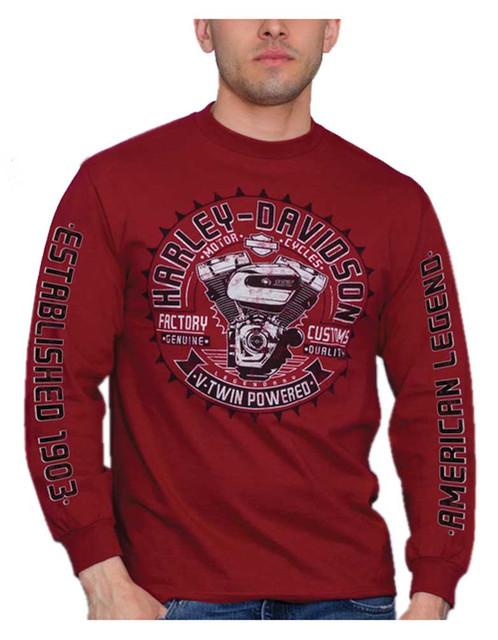 Harley-Davidson Men's V-Twin Powered Long Sleeve Crew-Neck Cotton Shirt, Red - Wisconsin Harley-Davidson