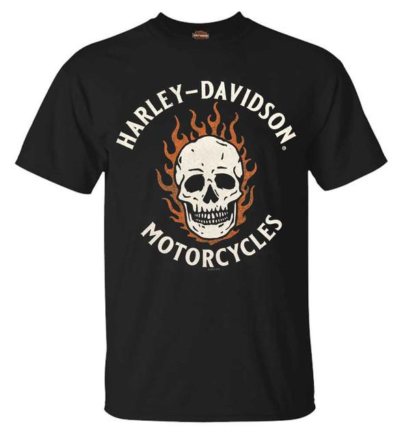 Harley-Davidson Men's Spooky Fiery Skull Short Sleeve Cotton T-Shirt, Black - Wisconsin Harley-Davidson