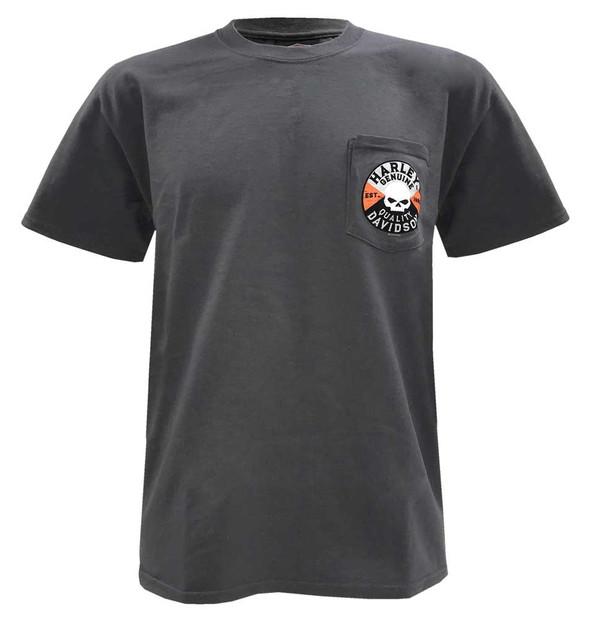 Harley-Davidson Men's Willie G Skull Chest Pocket Short Sleeve T-Shirt, Charcoal - Wisconsin Harley-Davidson