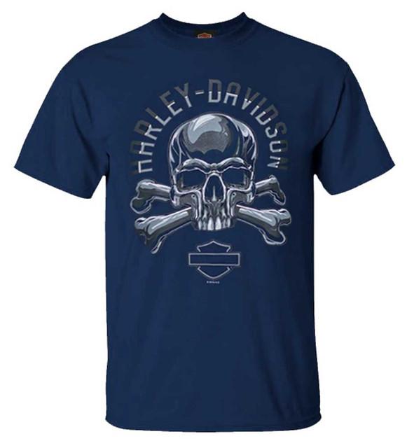Harley-Davidson Men's Chrome Skull & Bones Short Sleeve Crew-Neck T-Shirt, Navy - Wisconsin Harley-Davidson