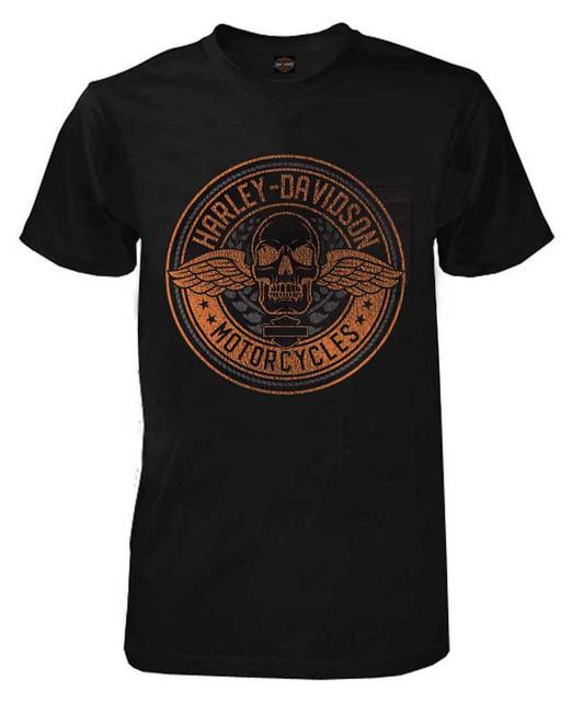 Harley-Davidson Men's Flight Skull Chest Pocket Short Sleeve T-Shirt, Black - Wisconsin Harley-Davidson