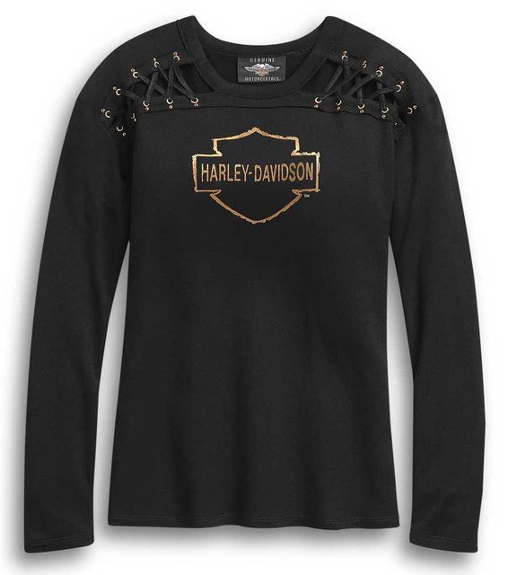 Harley-Davidson Women's Laced Shoulder Long Sleeve Shirt - Black 96325-20VW - Wisconsin Harley-Davidson