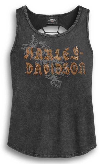 Harley-Davidson Women's Slash Back Sleeveless Tank Top, Wash Black 96319-20VW - Wisconsin Harley-Davidson