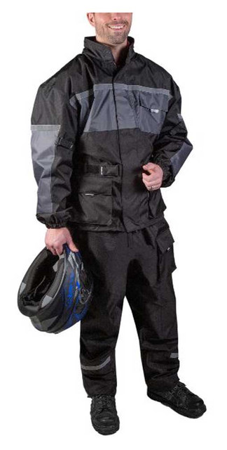Fulmer Men's 452 Legacy Two-Piece Reflective Complete Rain Suit - Black & Gray - Wisconsin Harley-Davidson
