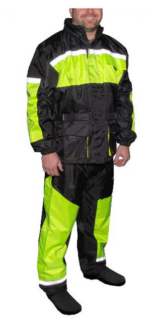 Fulmer Men's 452 Legacy Two-Piece Reflective Rain Suit - Black & Hi-Vis - Wisconsin Harley-Davidson