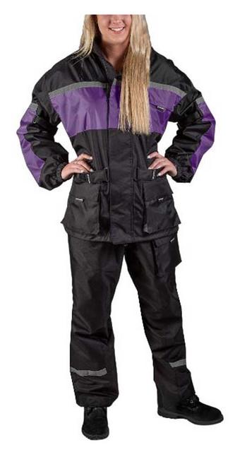 Fulmer Women's 452 Legacy Two-Piece Reflective Rain Suit - Black & Purple - Wisconsin Harley-Davidson