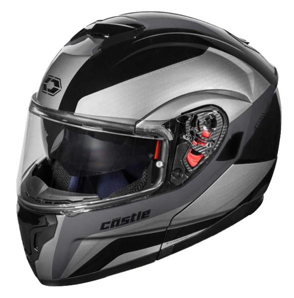 Castle Atom SV Tarmac Anti-Fog Shield Modular Motorcycle Helmet - Black - Wisconsin Harley-Davidson