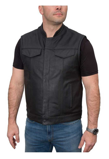 Fulmer Men's 500 Legion Premium Soft Buffalo Leather Motorcycle Vest - Black - Wisconsin Harley-Davidson