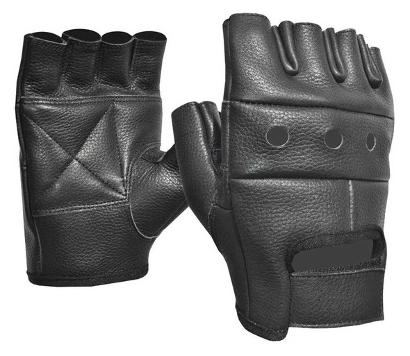 Fulmer Men's 550 Blaze Fingerless Cowhide Leather Motorcycle Gloves - Black - Wisconsin Harley-Davidson